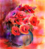 Watercolor painting Colorful Bouquet of poppy flowers in vase Royalty Free Stock Image