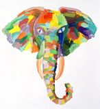 Watercolor painting of elephant head royalty free stock photo