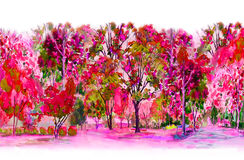 Watercolor painting colorful of  flowers garden trees. Royalty Free Stock Image