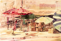 Watercolor painting colorful of market town changmai inThailand. Royalty Free Stock Photos