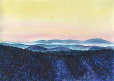 Colorful mountain landscape with a haze at sunset. Watercolor Painting. Colorful mountain landscape with a haze at sunset. The hills are covered with snow and Stock Images