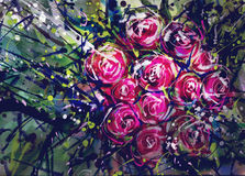 Watercolor painting colorful roses held by Chad. Royalty Free Stock Photos