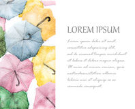 Watercolor painting of colorful umbrellas background with place for text.  Royalty Free Stock Photo