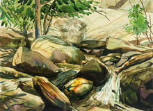 Watercolor painting colorful of waterfall,rock cliff,in forest. Royalty Free Stock Images