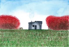 Watercolor painting Country house Stock Photo