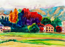 Watercolor Painting - Countryside stock illustration