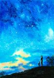 Watercolor Painting - Couple Under Starry Night sky stock photography