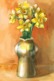 Watercolor painting of daffodil flowers in a vase Royalty Free Stock Photography
