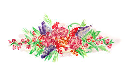 Watercolor painting design with flowers isolated on white. Watercolour painted flowers on white. Can be used for different design for blank, card, web design etc Royalty Free Stock Photography