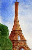 Eiffel tower in Paris. Watercolor painting of the Eiffel Tower - the symbol of Paris summer day against the blue sky. Urban Sketch Stock Photos