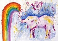 Watercolor painting of elephant stock photo