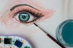 Watercolor painting of an eye. Closeup of watercolor painting of an eye Royalty Free Stock Photography