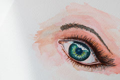 Watercolor painting eye. Closeup of watercolor painting one eye background Stock Photos