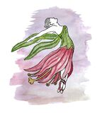 Watercolor painting of a faceless dancing woman in a lily dress against the background of a purple shapeless spot. Art of a flying