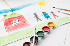 Watercolor painting. Family drawing at home with watercolors on paper stock photos