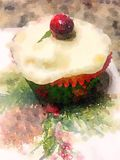 Watercolor painting of festive Christmas cupcake with frosting and cranberry on top  Royalty Free Stock Photo