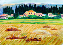 Watercolor Painting - Fields of Gold Royalty Free Stock Photo