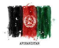 Watercolor painting flag of Afghanistan . Vector.  Stock Photography