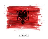 Watercolor painting flag of Alabia . Vector.  Royalty Free Stock Photography