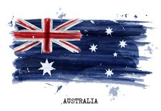 Watercolor painting flag of Australia . Vector.  Vector Illustration