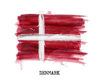Watercolor painting flag of Denmark . Vector.  Stock Photo