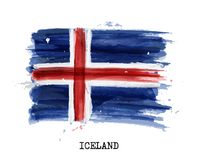 Watercolor painting flag of Iceland . Vector.  Royalty Free Stock Photos