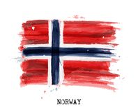 Watercolor painting flag of Norway . Vector.  Stock Image
