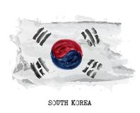 Watercolor painting flag of South korea . Vector royalty free illustration