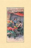 Watercolor painting of floral market. Royalty Free Stock Image
