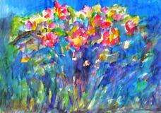 Watercolor painting. Flowering rose bush stock illustration