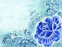 Watercolor painting of flowers. On a blue background Royalty Free Stock Photo