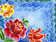 Watercolor painting of flowers. On a blue background Royalty Free Stock Image