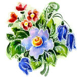 Watercolor painting of flowers. Watercolor a bouquet with hand bells on a white background Royalty Free Stock Photo