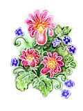 Watercolor painting of flowers Stock Photos