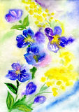 Watercolor painting of flowers. Watercolors bouquet from blue and colour Stock Image