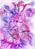 Watercolor painting of flowers. Watercolor abstract painting lilac flowers Stock Images
