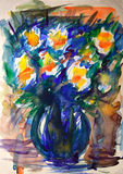 Watercolor painting of flowers. Royalty Free Stock Photography