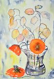 Watercolor painting, flowers Stock Images
