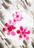Watercolor painting with  flowers azaleas Royalty Free Stock Images
