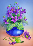 Watercolor painting. Flowers in blue vase Royalty Free Stock Image