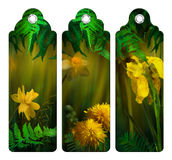 Watercolor Painting Flowers Bookmark stock illustration