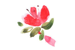 Watercolor painting of flowers bouquet aquarelle drawing Stock Photos