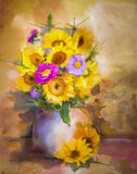 Watercolor painting flowers bouquet still life of yellow sunflower Stock Images