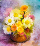 Watercolor painting flowers. Hand paint bouquet still life of yellow, orange, red daisy- gerbera floral in vase. On grunge textures background. Vintage painting Royalty Free Stock Photography