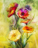 Watercolor painting flowers. Hand paint still life bouquet of yellow ,orange, white gerbera flowers Royalty Free Stock Photography