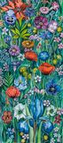 Watercolor Painting Flowers Poppy Iris Daisy vector illustration