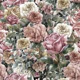 Watercolor painting flowers, rose , seamless pattern Royalty Free Stock Photo