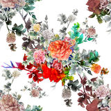 Watercolor painting of flowers, rose , seamless pattern on white background. Royalty Free Stock Photography