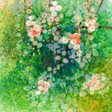 Watercolor painting flowers and soft green leaves Stock Photos