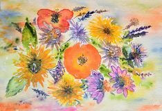 Watercolor painting, flowers Royalty Free Stock Photos